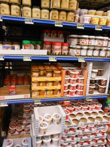 Paul needed more peanut butter. They have two types, I think. Right next to the many types of jam.
